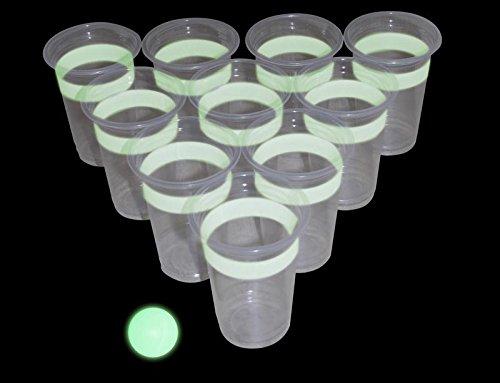 Close Up Beer Pong Glow in The Dark (leuchtet im Dunkeln) Trinkspiel - 22 Becher, 2 Bälle
