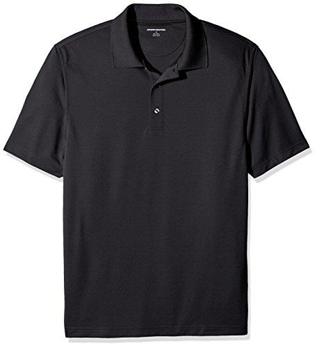 Amazon Essentials Herren Poloshirt Regular-fit Quick-dry Stripe Golf Polo Shirt, Schwarz (Black), L