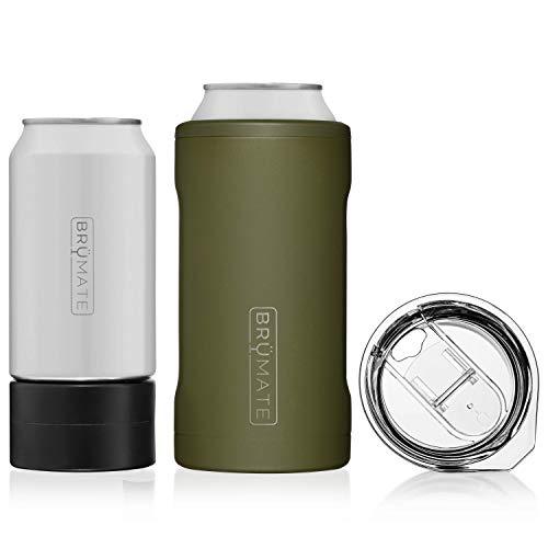 BrüMate HOPSULATOR TRíO 3-in-1 Edelstahl isolierter Dosenkühler, funktioniert mit 340 ml, 453 ml Dosen und als Pint-Glas (OD Green)