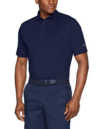 Callaway Herren Poloshirt Micro Hex Solid Kurzarm, Herren, Polo, Micro Hex Solid Short Sleeve Golf Polo Shirt, Peacoat, Small