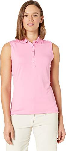 Callaway Women's Core Solid Micro Hex Sleeveless Golf Polo Shirt, Fuchsia Pink, X-Small