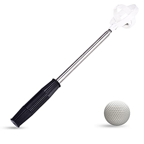 Dioche Golf Ball Retriever, Praktische Golf Picker Teleskop Golf Ball Pick Up Werkzeug Edelstahl Welle Automatische Locking Scoop (2 Farben)(Weiß)