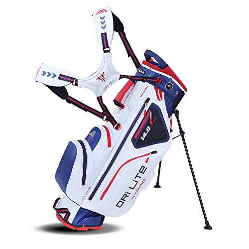 Big Max Dri Lite HYBRID Golf Cartbag & Standbag - Wasserabweisend - 2019 - White/Navy/Red