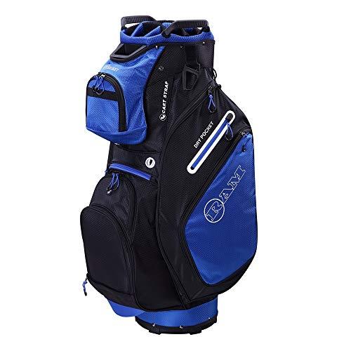 Ram Golf FX Deluxe Golftrolley mit 14 Fächern, in voller Länge, Blau / Schwarz