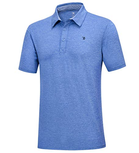 donhobo Herren Poloshirt Kurzarmshirt Performance Polohemd Regular-fit Quick-Dry Golf Polo Shirts (Blau, XL)