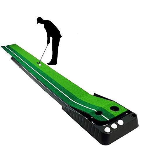 YINGJEE Golf Auto Rückkehr Puttingmatte professionelle tragbare Übungs Mini Golf Trainer Putting Matte Green Golfübungsgeräte für zu Hause Büro Gym (Puttingmatte)