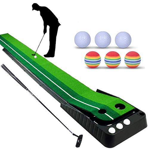YINGJEE Golf Matte Puttingmatte mit professionelle tragbare Übungs,einhalten Golf Putter + 6 Golf Bälle Mini Golf Übungsmatte Putting Matte Green Golfübungsgeräte für zu Hause Büro Gym