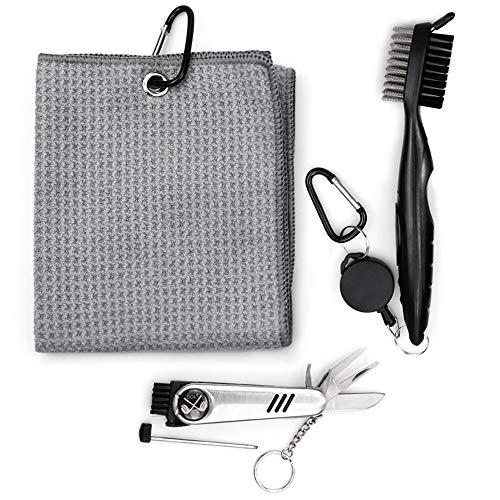 InFreesh Golf Zubehör Set, Golf Bürste und Mikrofaser Golf Handtuch Kit, faltbares Divot Reparaturwerkzeug mit Golf Marker, 3 in 1 Golf Reinigungswerkzeug Kit (Grau)