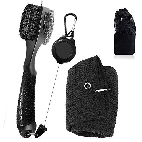 Golf-Zubehör, Golfschläger-Reiniger mit Golf-Handtuch und Bürste, tragbarer Golfschläger-Reiniger, Eisen-Rillen-Reinigungswerkzeug, starker Clip an Golftasche oder Trolley, Golf-Geschenke für Männer