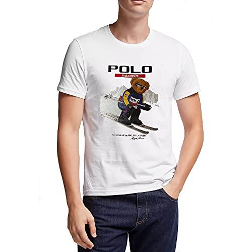 Polo Ralph Lauren Herren Polo Bear Racing T-Shirt (XL, White)