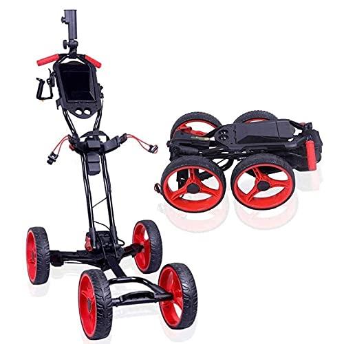 YYAI-HHJU Golftrolley Elektrischer Golftrolley Faltbarer Golf-Push-Pull-Wagen Mit Handbremse, Verstellbarer Schiebegriff, Einfach Zu Öffnen/Schließen